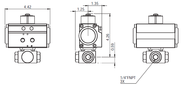 3 Way 1000 Stainless Steel Ball Valves Series 10003w