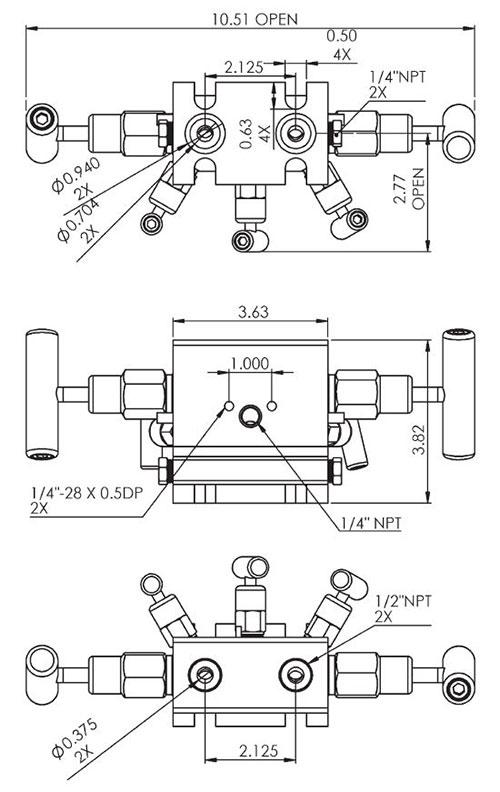 TM-JM37 Series Flange x Pipe Dimensions | Texas Valves & Instruments